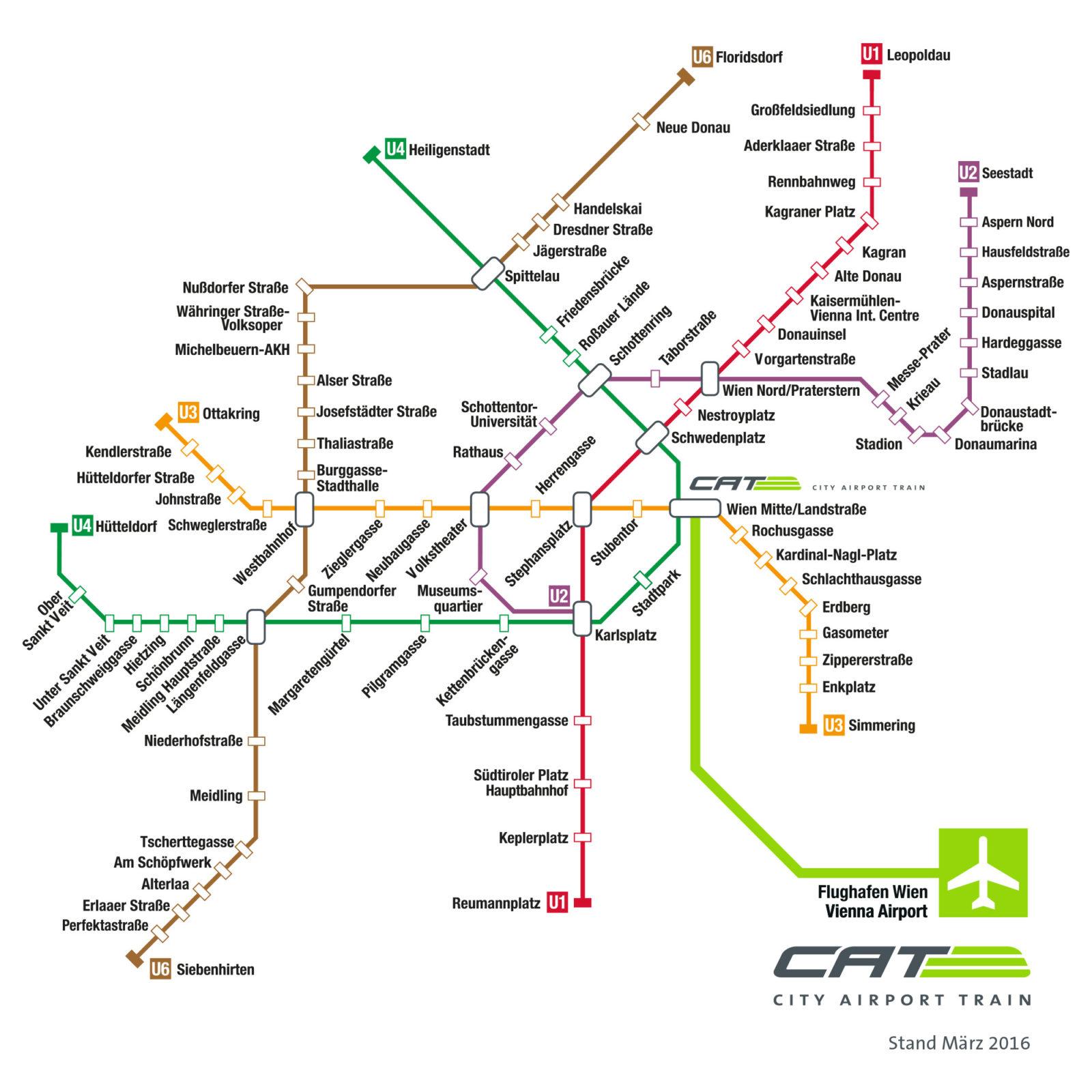 Schema de circulație al Aeroexpress-ului CAT