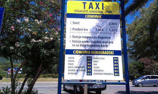 Preturi taxi Montenegro