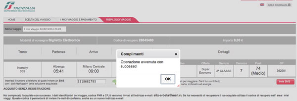 Plata tren Italia