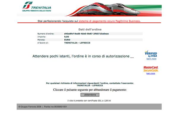 Achitare bilete tren Italia