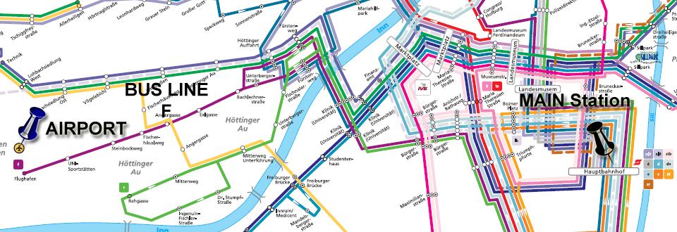 Traseul de circulație autobuz F