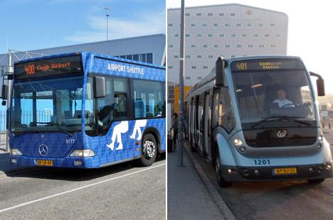Autobuzele 400 și 401 la aeroportul Eindhoven