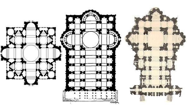 Evoluția proiectelor - de la crucea grecească la bazilică cu trei nave