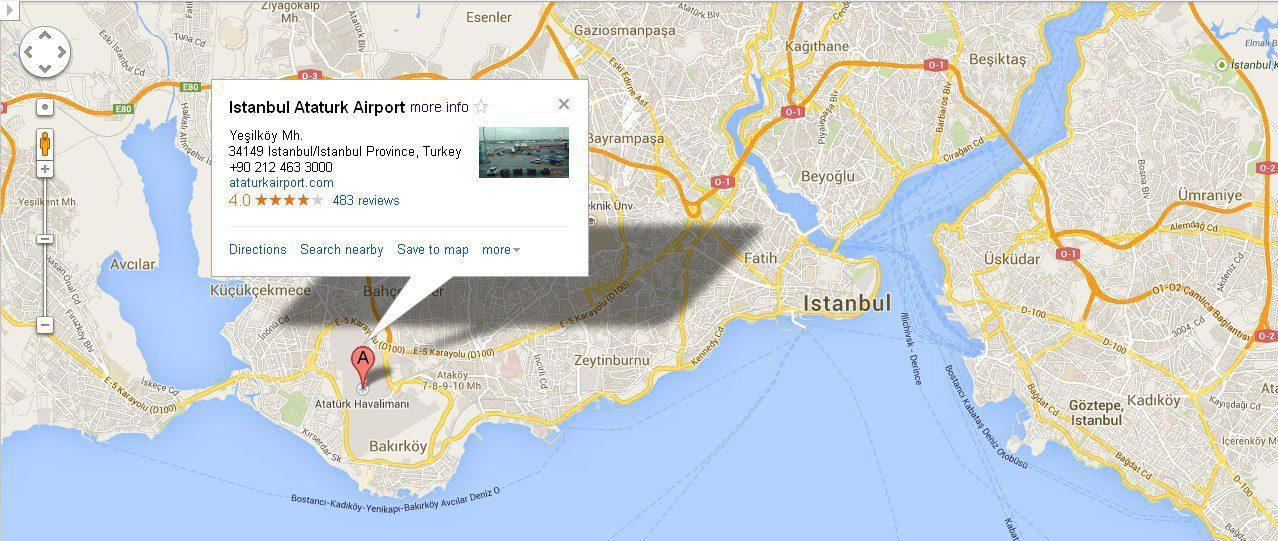 Aeroportul Ataturk pe Harta Istanbulului