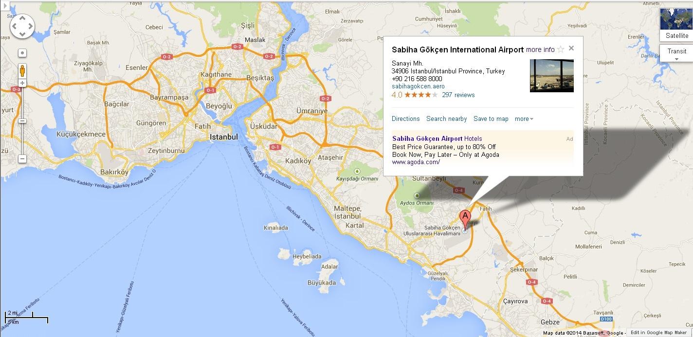 Aeroportul Sabiha Gokcen pe hartă