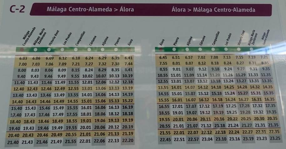 Orar Malaga - Alora