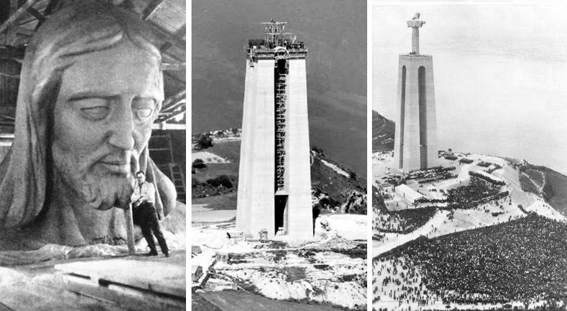 Fotografii din timpul construcției statuei lui Cristos din Lisabona