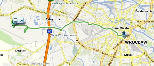 Ruta de autobuz 106 de la Aeroportul Wroclaw